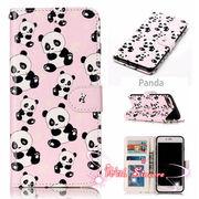 【一部即納】パンダ iPhone8~6 8~6plus 可愛い シャンシャン 熊猫 レザー やわらかい 保護  動物 ピンク/