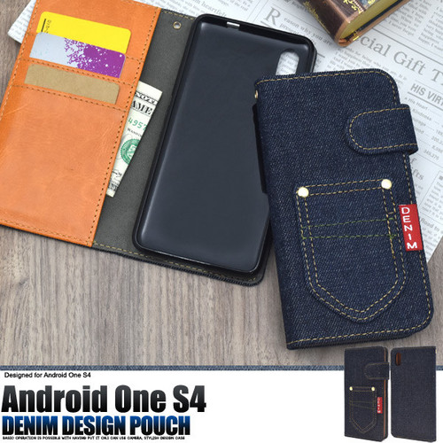 Android One S4/DIGNO J用デニムデザインスタンドケースポーチ