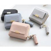 ミニ財布 手のひらサイズ 5色 小さい コンパクト 二つ折り財布 レディース 小銭入れ カード入れ