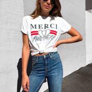 2018新作 春夏 レディース ロゴプリントTシャツ『MERCI』 白 ホワイト カットソー 半袖 トップス