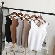 Rinaシリーズ 夏 新しいデザイン 女性服 韓国風 襟 単一色 背中開き 着やせ ニッ