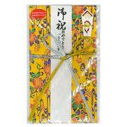 ご祝儀袋(花結) アカバナ柄紅型和紙(黄・金線)