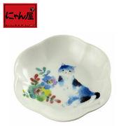 「にゃん屋」★花猫小皿 ブルー