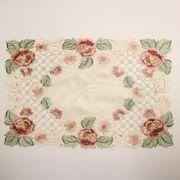 テーブルセンター薔薇のカット刺繍長方形