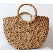 レディースバッグ ファッション かごバッグ 手提げ 麦わらバッグ 編み上げバッグ ハンドバック ナチュラル