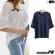 Tシャツ フリル ティアード スリーブ 五分袖 レディース 大きいサイズ 2018 春服 夏服