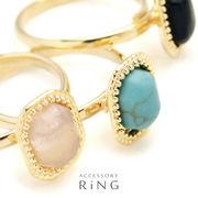 ▼MAGGIO▼【程よいサイズ感♪】オーバルジュエルストーンリング(指輪)