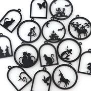 1個 アクリル製空枠 黒 14種類 猫 蝶々 魔法少女 ハロウィン 兎 人魚姫 ユニコーン ハト チャーム パーツ