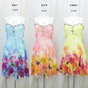【即納】胸元ビジュー★プリント柄シフォン★ラブリー★ミニドレス