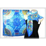 鮮やかな大判正方形エスニックプリント柄100%シルク綾織スカーフ  06100