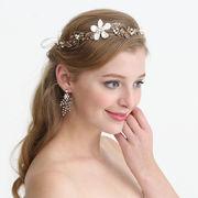 クラシック風お花モチーフウェディングヘアアクセ - ヘアバンド ヘアアクセサリー ピン留め   全1色