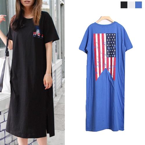 Tシャツ ワンピース ヴィンテージ USAプリント レディース 大きいサイズ 2018 夏服 上品