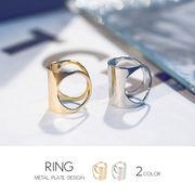 【即納】【リング】全2色!メタルプレートデザイン指輪[kgf0140]