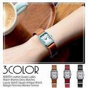 【REBIRTH リバース】日常生活防水  レザーベルト シンプル 上品 スクエア型 RB005 レディース腕時計