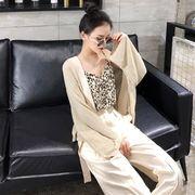 韓国風 薄いスタイル 長袖 日焼け止め ニットカーディガン アウターウェア ヒョウ ディ