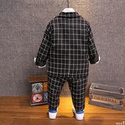 秋 男児 英国スタイル 学院派 小中児童 小さなスーツ グリッド セット 長袖 セット