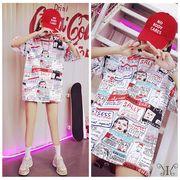 メール便661702】大きいサイズ☆アメコミ漫画プリント ロングTシャツ ワンピースLL~4L