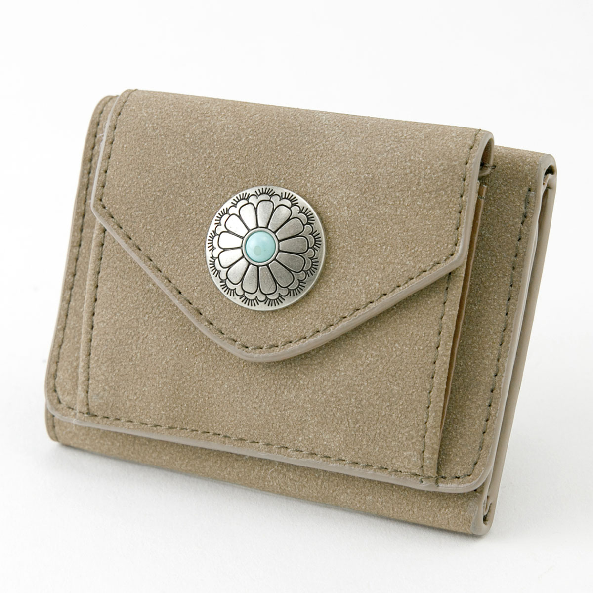 新色入荷☆コンチョ付き 三つ折り財布 ミニ財布 [デイ] / レディース ウォレット 小銭入れ