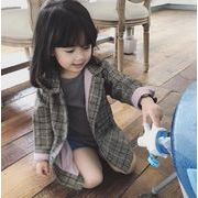 キッズジャケット  2色 普段着 長袖 子供コート 日常用 チェック 格子 女の子