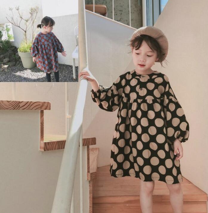 ワンピース 秋新作 子供 女の子 ドット柄 長袖 ファッション カジュアル系 ゆったり