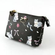 ねこ ネコ  猫 キャット CAT  総柄プリント 3層ミニポーチ ミルク