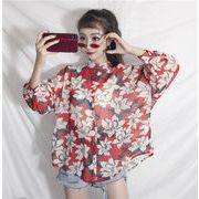 秋冬新商品730015 大きいサイズ 韓国 レディース ファッション 秋新商品 花柄 シャツ