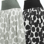 【初秋物】レディース スカート ヨーク切替 大きめドット柄 綿フレアースカート