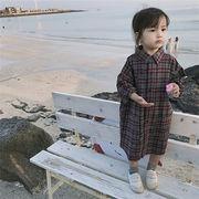 キッズ シャツ ブラウス 長袖 チェック アルファベット チェック 【SALE】 韓国子供服 kids カーディガン