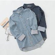 レディース新作デニム ワイシャツ トップス キレイ目♪ブルー/ネイビー2色