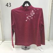 花刺繍ニットセーター 【日本製】