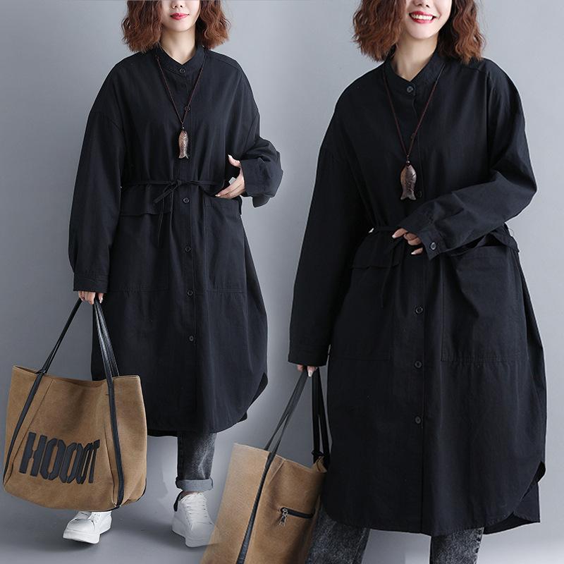 大きいサイズ ロングコート アウター 長袖 ゆったり シャツコート 通勤 秋 シンプル F 069059  coat1811