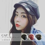 キャスケット帽子 レディース 小物 CAP フェイクレザーキャップ 小顔効果 即納