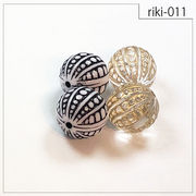 【riki-011】ラウンド型 rikiビーズ ヴィンテージ風 モダンビーズ デザイン アクリル