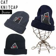 帽子 ニット帽 メンズ レディース ニット キャップ ワッチ リブニット ネコ ワッペン キーズ Keys