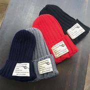 ▼MAGGIO▼【大きめワッペン】ナチュラル可愛いスタイルを演出♪ ラベル付リブ編みニット帽