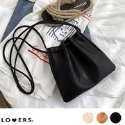 秋新作 レザー調巾着バッグ ma 【12月下旬頃】 鞄 バッグ シンプル レザー調 巾着