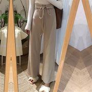 韓国 スタイル ファッション ハイウエスト ゆったり ボトムス 長ズボン ロングパンツ