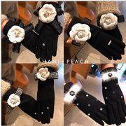 秋冬新品 ファッション 手袋 グローブ 気質 クロ 上品 リボン セレブ ウール 花