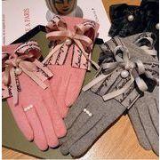 秋冬新品 レディースファッション 手袋 グローブ ウール スマホ対応 リボン 英字 パール 防寒