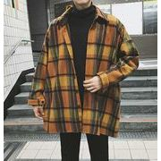 秋冬新作メンズワイシャツ トップスチェック柄 ゆったり コート♪グリーン/イエロー2色