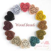 カラーウッドビーズ デザインハート♪12色♪20個 /beads550