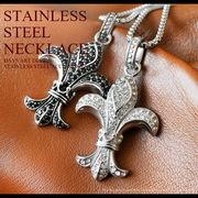 ステンレスペンダント ネックレス メンズ レディース 316Lサージカルステンレス 百合の紋章 フレア