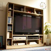 【12/下】50インチ対応 135幅 テレビ台 壁面 収納ゲート型 オークTVB-135-OAK