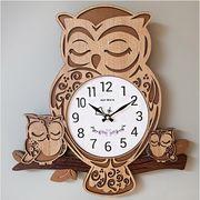 ハンドメイド木製電波掛け時計フクロウ家族