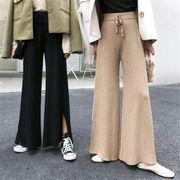 韓国 スタイル ファッション レディース 2018 スリット ゆったり ボトムス 長ズボン ロングパンツ パンツ