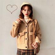 韓国 スタイル ファッション カジュアル 無地 ダッフル ジャケット スタジャン アウター