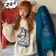韓国 スタイル ファッション 2018 カジュアル 刺繍 長袖 裏起毛 Tシャツ ブラウス
