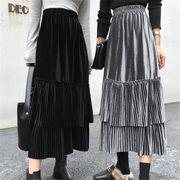 2018 秋 冬 韓国 スタイル ファッション レディース ゆったり ハイウエスト シャーリング ロングスカート
