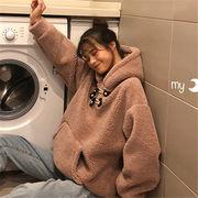 韓国 スタイル ファッション 防寒 長袖 スウェット トレーナー パーカー トップス