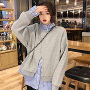韓国 スタイル ファッション 重ね着風 長袖 無地 裏起毛 スウェット トレーナー パーカー トップス